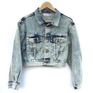 VTG Oversized Distressed Cropped Jean Jacket